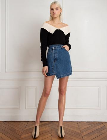 Pixie Market Black Two Tone Off The Shoulder Sweater