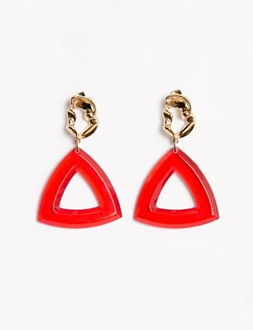 Pixie Market Gold Nugget Red Chandelier Earrings