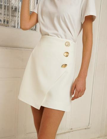 Pixie Market Riley White Button Mini Skirt