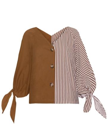 Pixie Market Stripe Two Tone Shirt