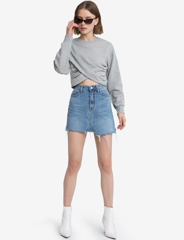 Pixie Market Juna Grey Wrap Crop Sweatshirt