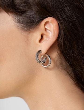 Pixie Market Silver Double Hoop Earrings