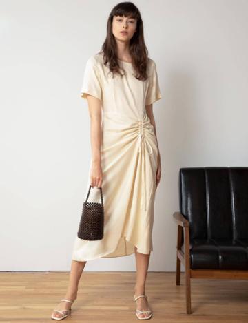 Pixie Market Ruched Tie Front Maxi Dress