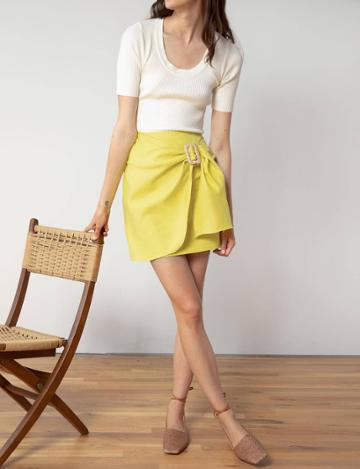Pixie Market Yellow Belted Wrap Skirt
