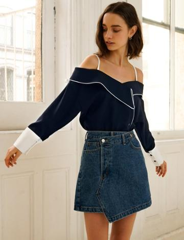 Pixie Market Maxime Off The Shoulder Navy Shirt