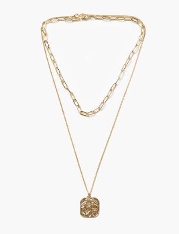 Pixie Market Square Medallion Double Necklace