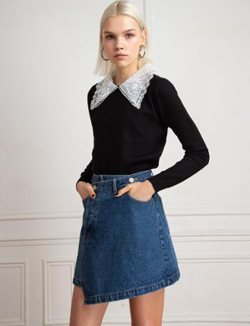 Pixie Market Lace Collar Black Sweater