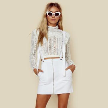 For Love And Lemons Monika Overalls Mini Skirt Bottoms