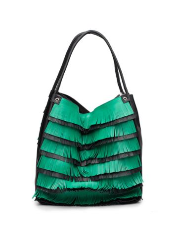Medium Fringe Tote-aloe/black