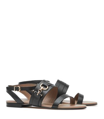 Reiss Bruna - Womens Leather Flat Sandals In Black, Size 3