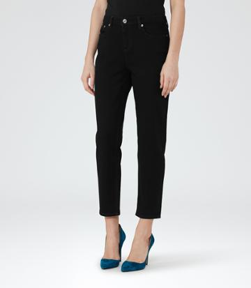 Reiss Raven - Womens Straight-leg Cropped Jeans In Black, Size 24