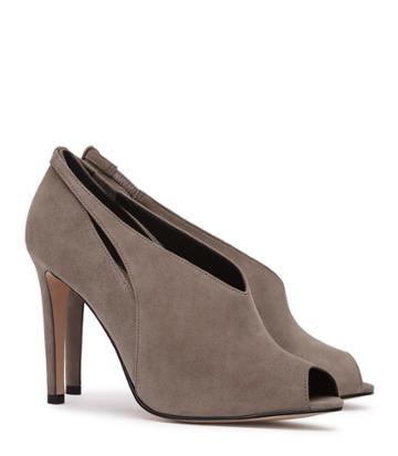Reiss Dalida Suede - Peep-toe Heels In Grey, Womens, Size 5