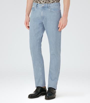 Reiss Fairbourne - Mens Light Wash Slim Jeans In Blue, Size 28