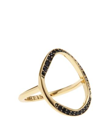 Reiss Hayley - Womens Open Oval Ring With Swarovski Crystals In Yellow, Size Xs