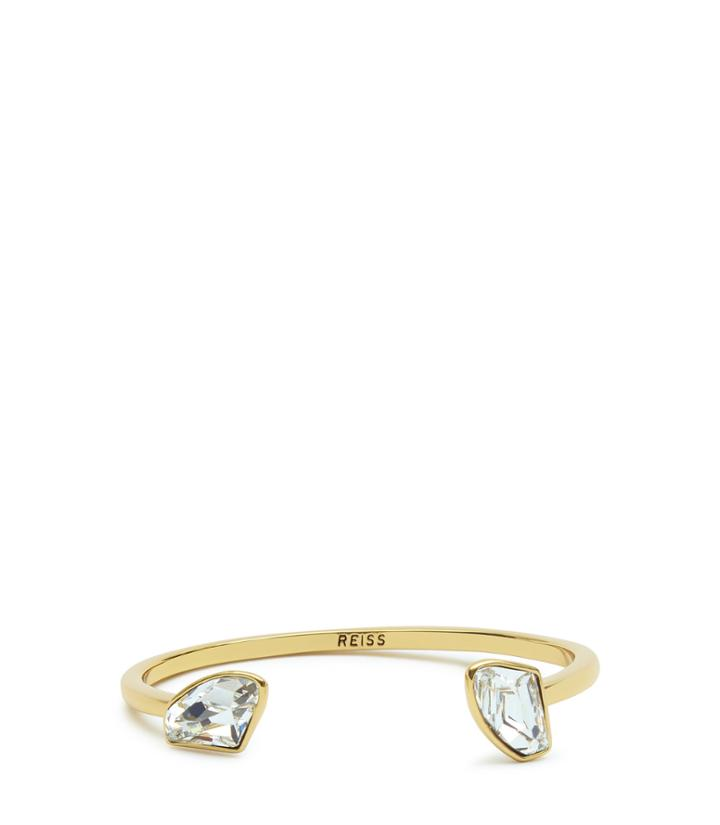 Reiss Loka - Womens Engraved Bracelet With Crystals From Swarovski In Yellow, Size One Size