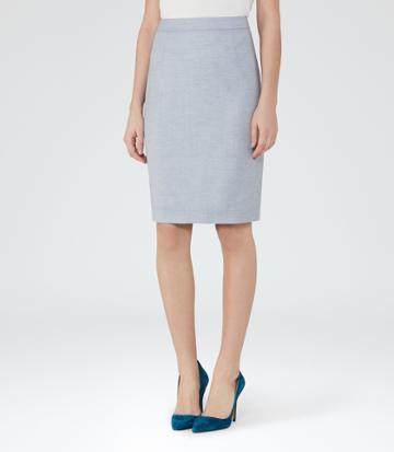 Reiss Wren Skirt - Womens Tailored Pencil Skirt In Blue, Size 4