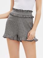 Romwe Ruffle Trim Tailored Gingham Shorts