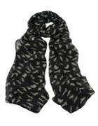 Romwe Latest Design Black Chiffon Knitted Leopard Printed Fashionable Scarf