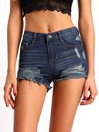Romwe Blue Ripped Denim Slim Shorts