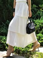 Romwe Tiered Pleated Chiffon Skirt