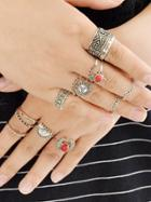 Romwe 14 Pcs/set Red Stone Sun Knuckle Ring