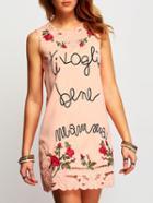 Romwe Sleeveless Florasl Embroidered Pink Tshirt Dress