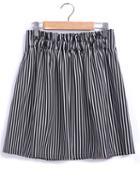 Romwe Elastic Waist Vertical Striped Black Skirt
