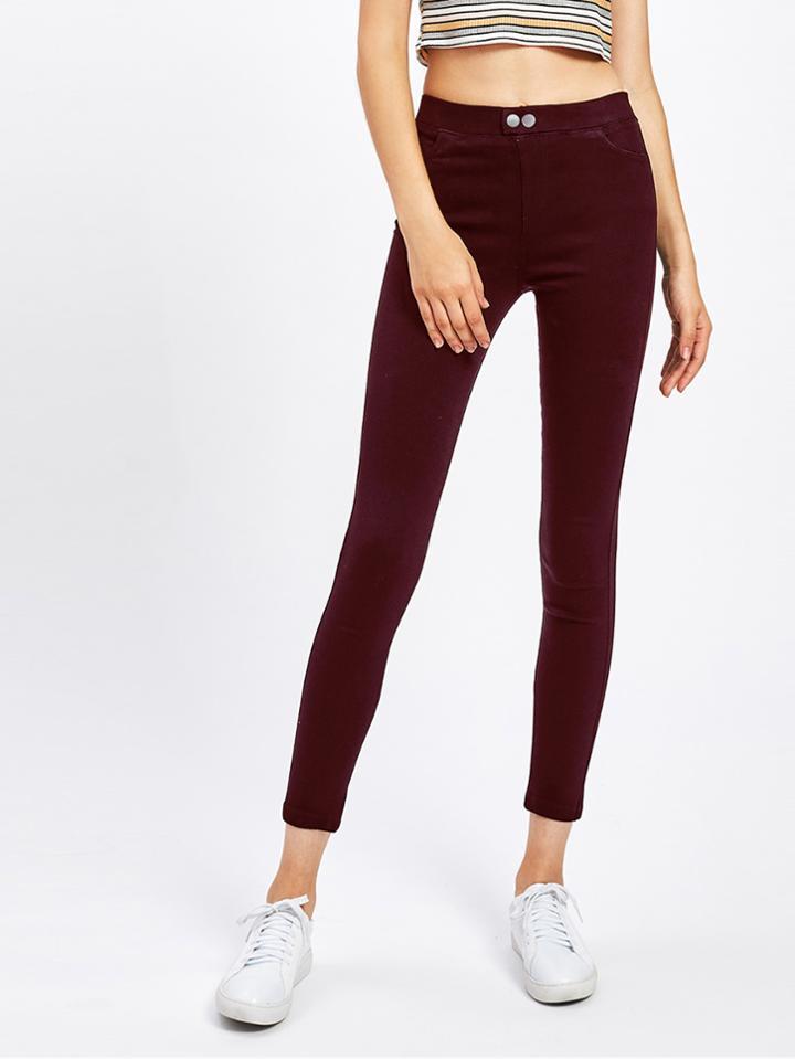 Romwe Wine Skinny Jeans