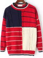 Romwe Striped Cable Knit Red Sweater