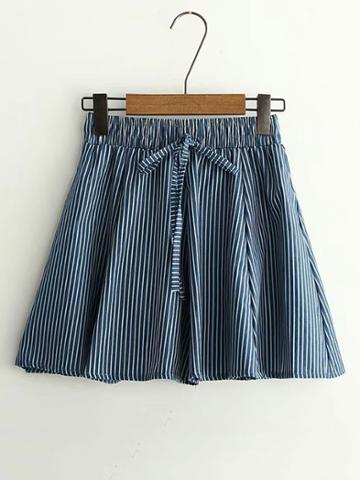 Romwe Elastic Waist Vertical Striped Skirt Shorts