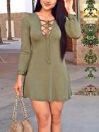 Romwe Long Sleeve Bandage A-line Army Green Dress