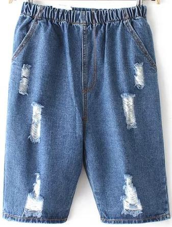 Romwe Elastic Waist Ripped Denim Shorts