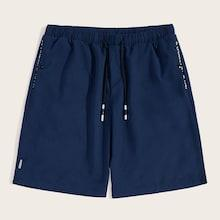 Romwe Guys Letter Tape Drawstring Waist Shorts