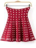 Romwe Heart Print Knit Red Skirt