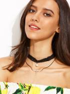 Romwe Pearl Pendant Layered Lace Choker Necklace