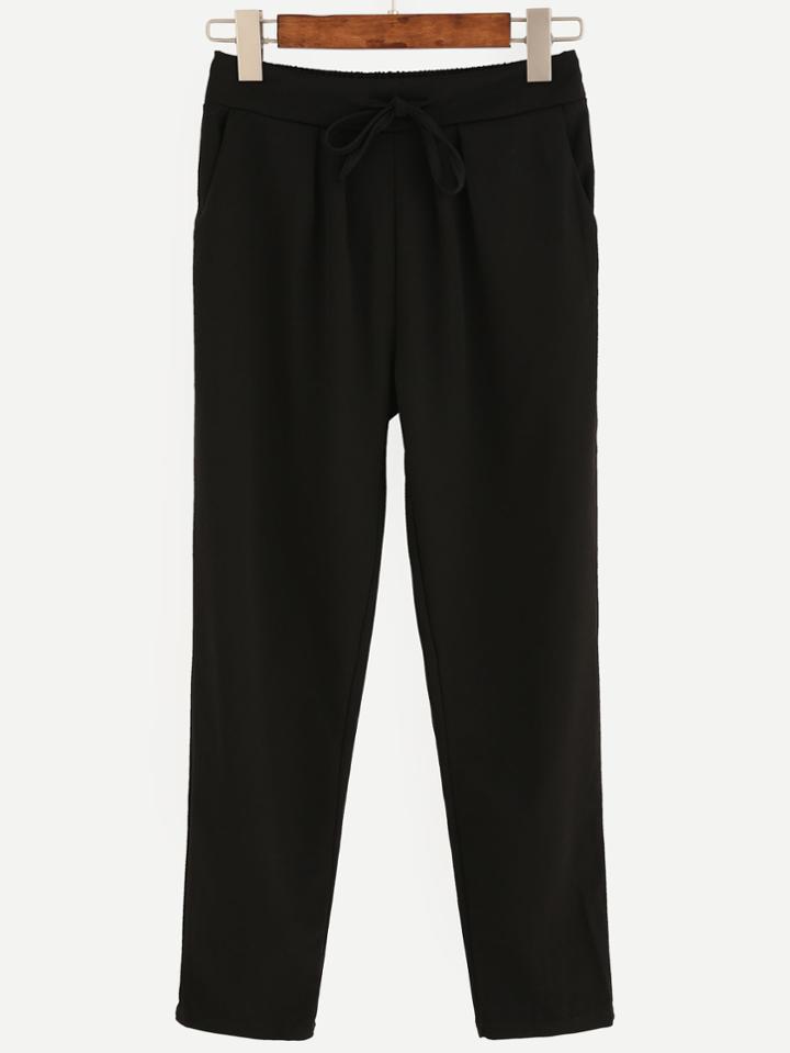 Romwe Black Drawstring Waist Pants