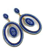 Romwe Blue Bead Circle Earrings