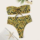 Romwe Random Floral Self Tie Bandeau With High Waist Bikini