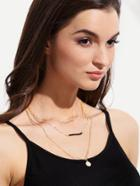 Romwe Golden Multilayer Necklace