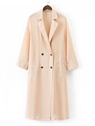 Romwe Double Breasted Longline Trench Coat