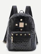 Romwe Studded Detail Crocodile Backpack
