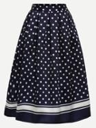 Romwe Polka Dot Print Box Pleated Midi Skirt - Navy