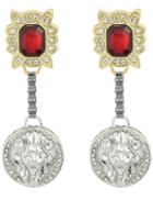 Romwe Red Gemstone Round Earrings