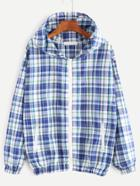 Romwe Blue Plaid Zip Up Hooded Jacket