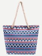 Romwe Blue Tribal Print Canvas Tote Bag