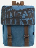 Romwe Blue Printed Dual Buckled Flap Canvas Backpack