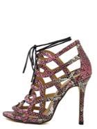 Romwe Snakeskin Peep Toe Cutout Lace-up Stiletto Heels