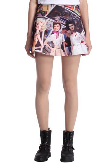 Romwe Romwe Four Barbie Beauties Print Skirt