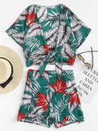 Romwe Leaf Print Knot Front Top With Shorts