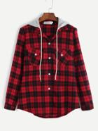 Romwe Red Plaid Dual Pocket Blouse With Removable Hood